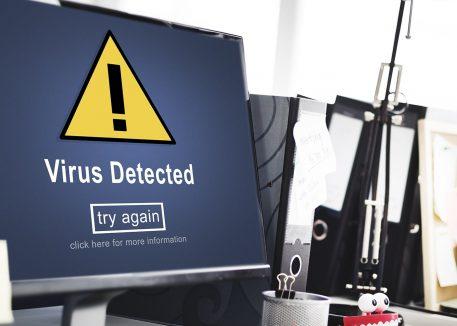 computer screen with virus warning
