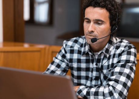 remote support specialist handling a request