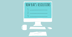 computer with new years resolutions