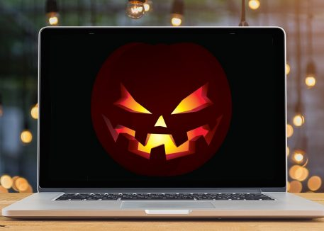 spooky jack-o'-lantern on laptop screen